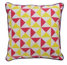 Neo Geo Triangle design print cushion pink/lime