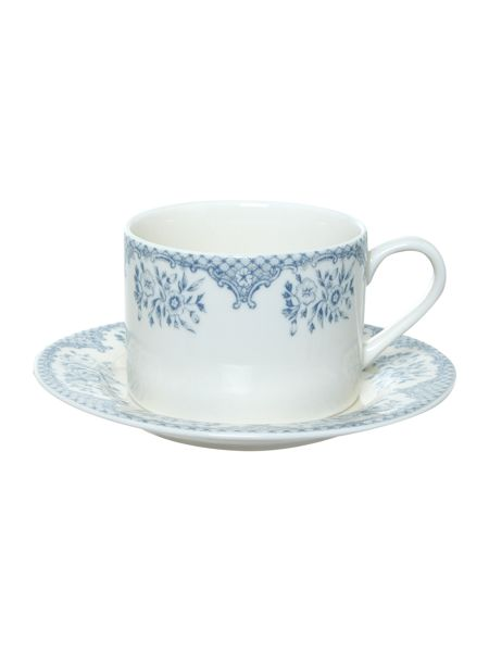 Shabby Chic Kew blue teacup and saucer