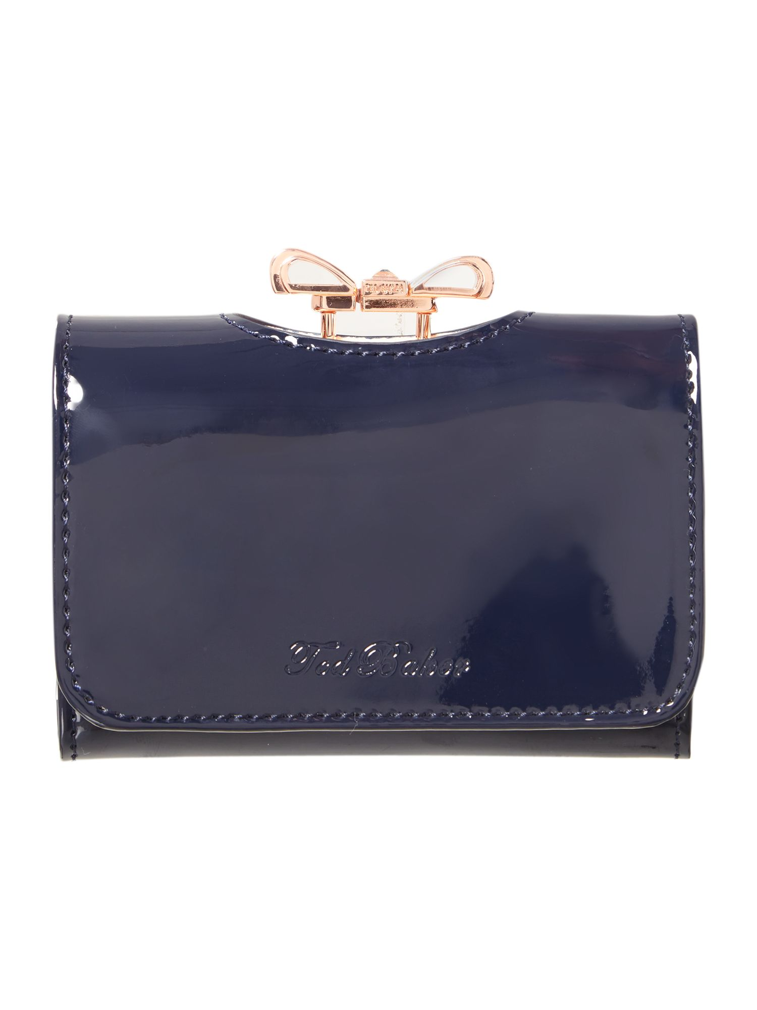 Navy small crystal bow flapover purse