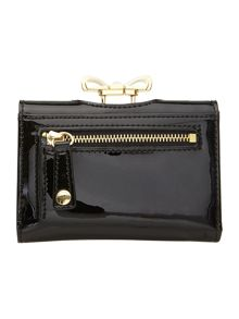 Black small crystal bow flapover purse