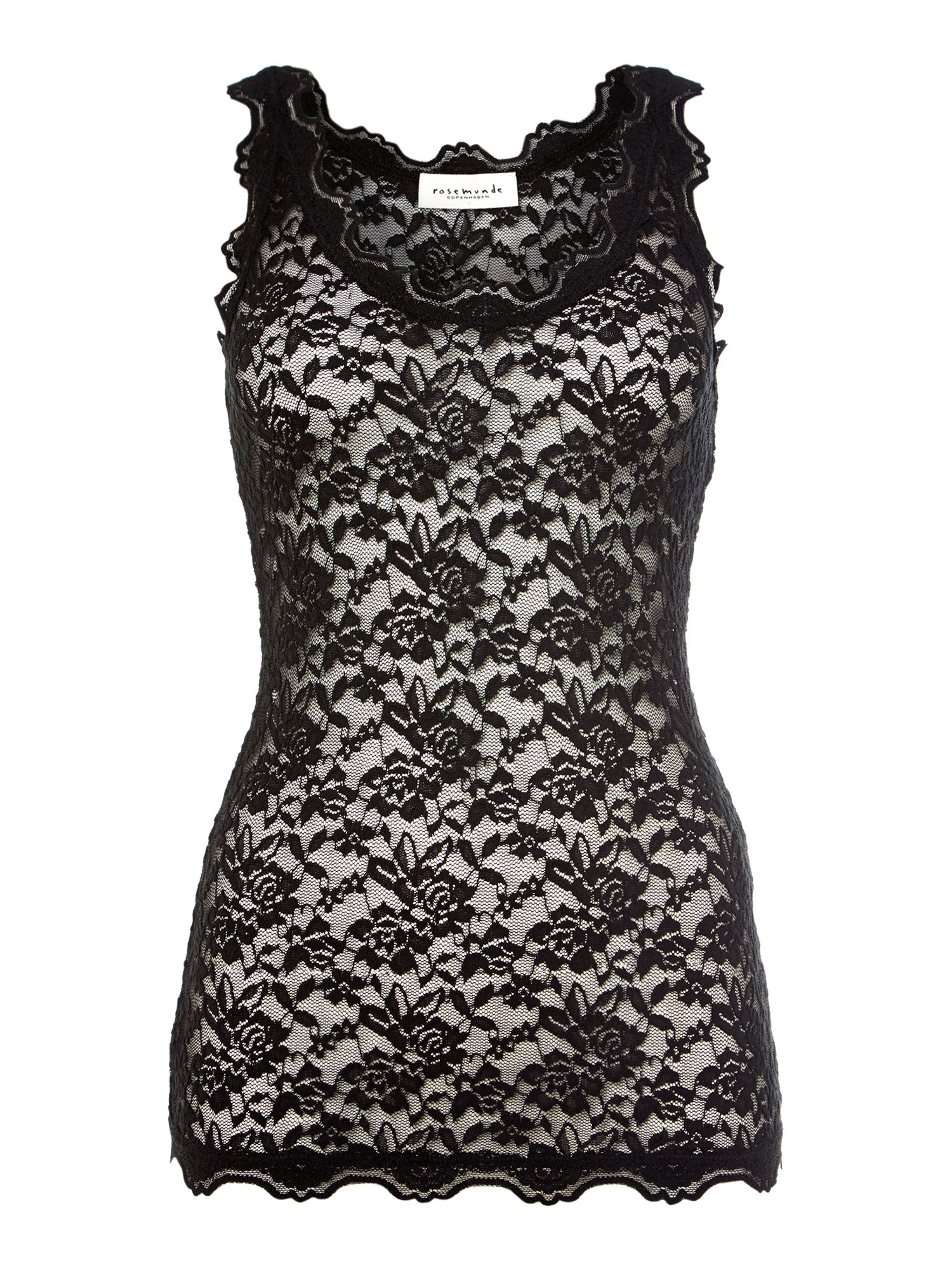 Sleeveless silk mix lace top