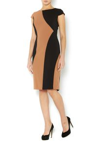 Vertical colourblock shift dress