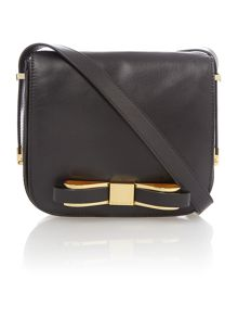 Small black bow leather cross body bag