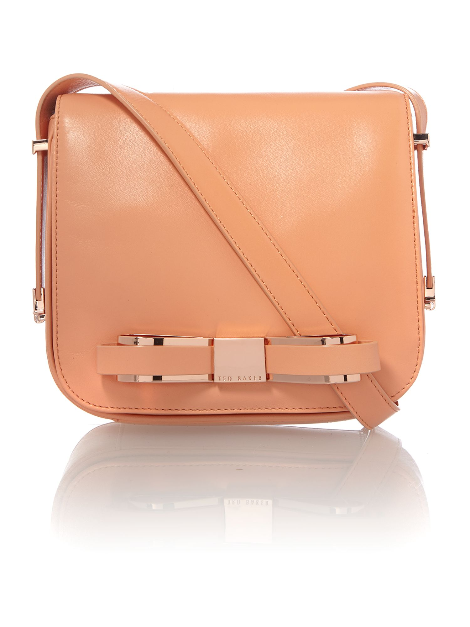 Small orange bow leather cross body bag