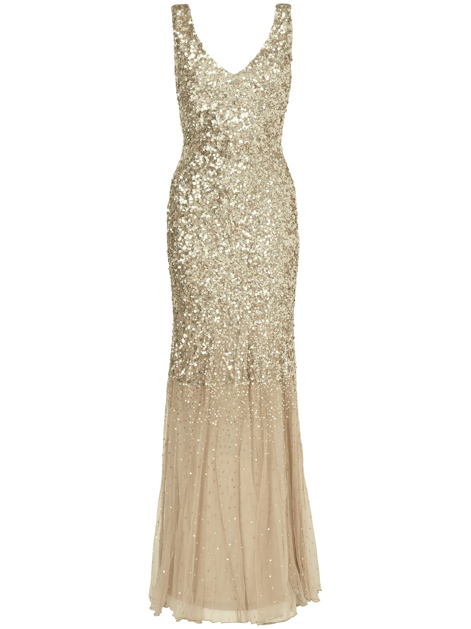 Phase Eight Luna sequin full length dress, Gold