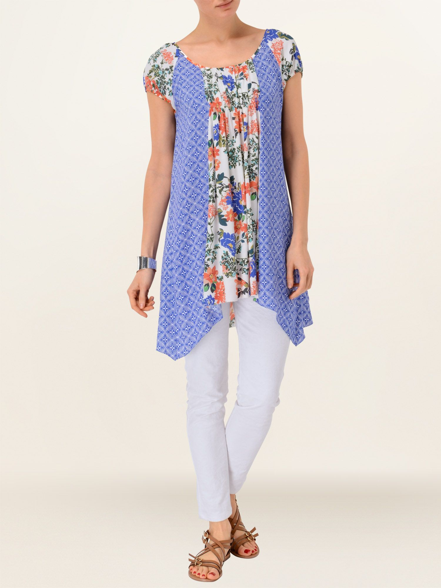Michaela floral and print mix tunic