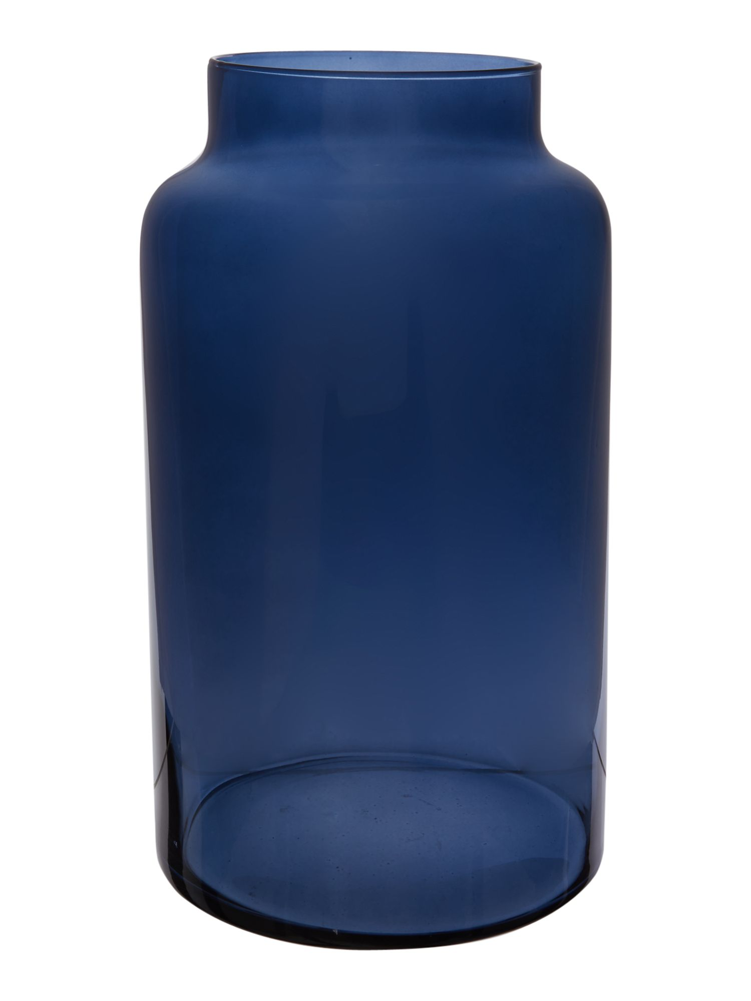 Navy glass large vase