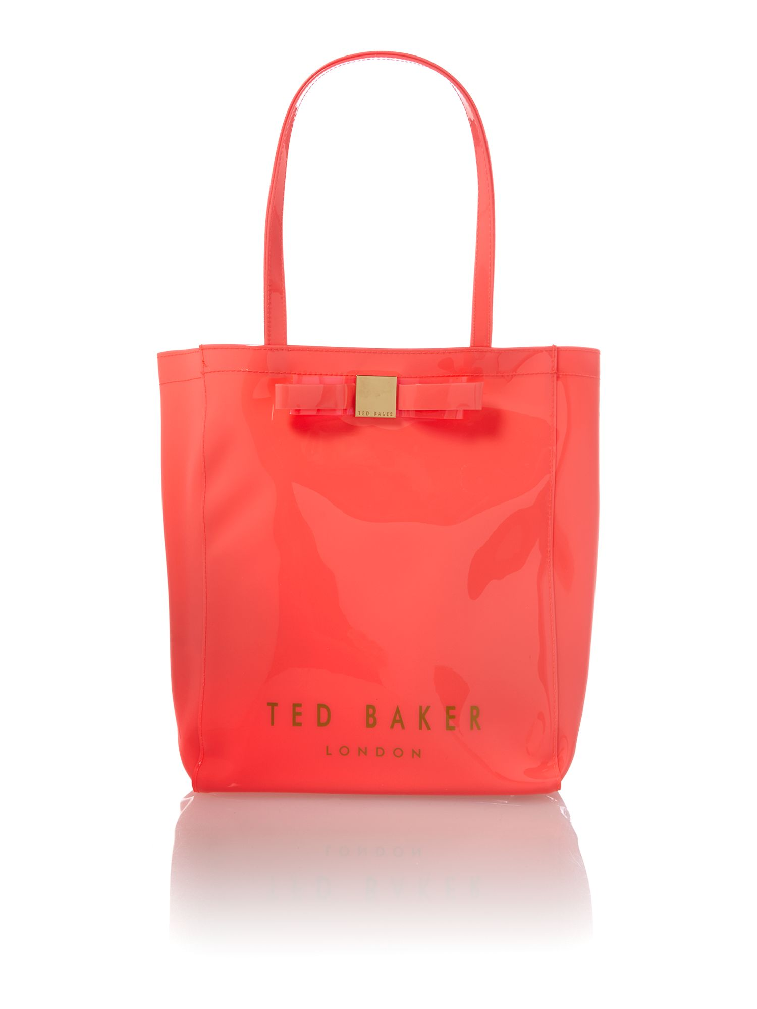 Large pink bowcon tote bag