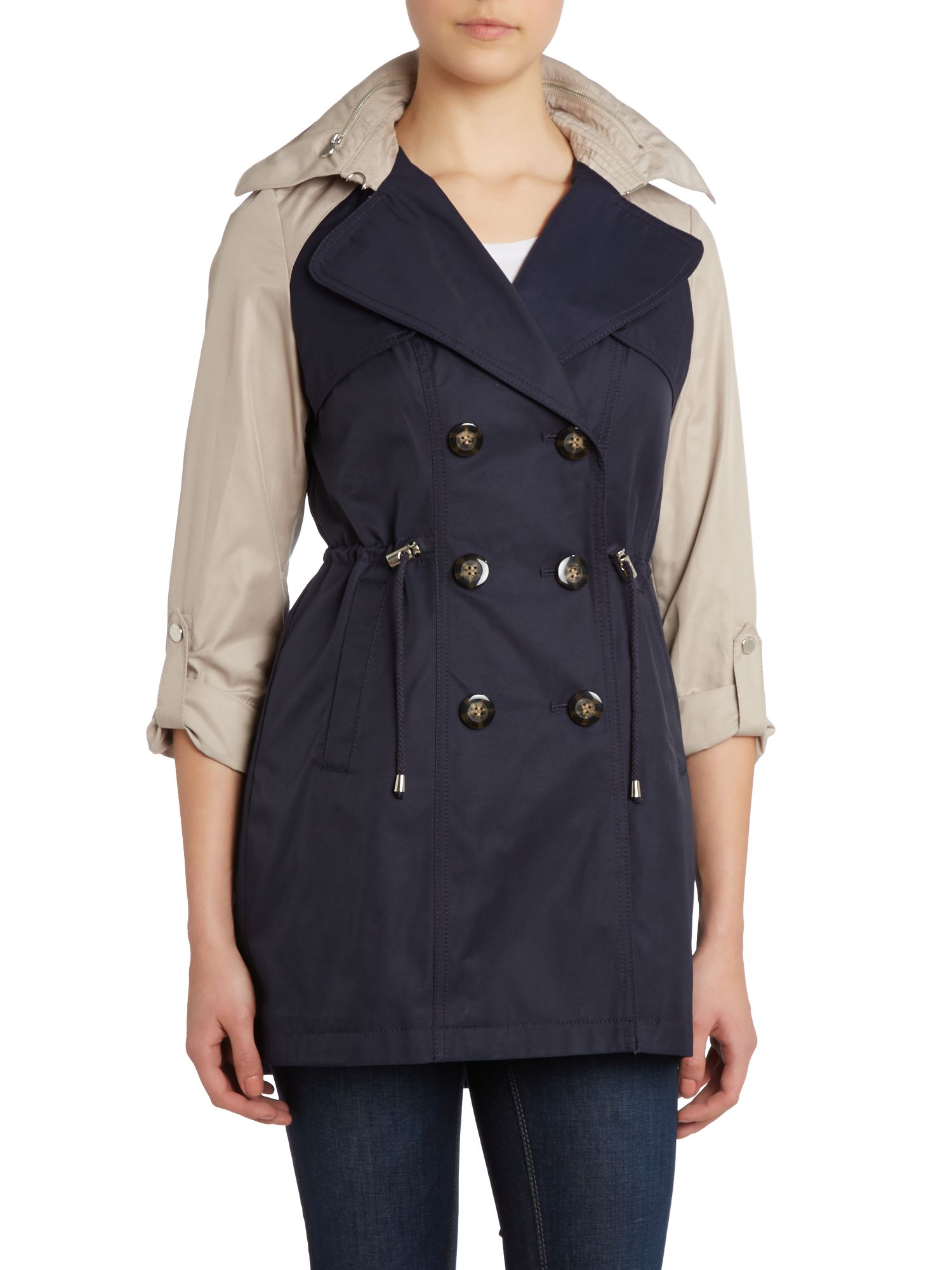 Contrast Arm Double Breasted Coat