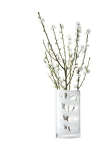 Linen vase height 32cm in white