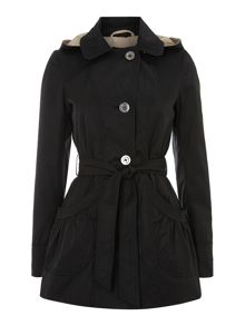 Belted Button Hooded Mac