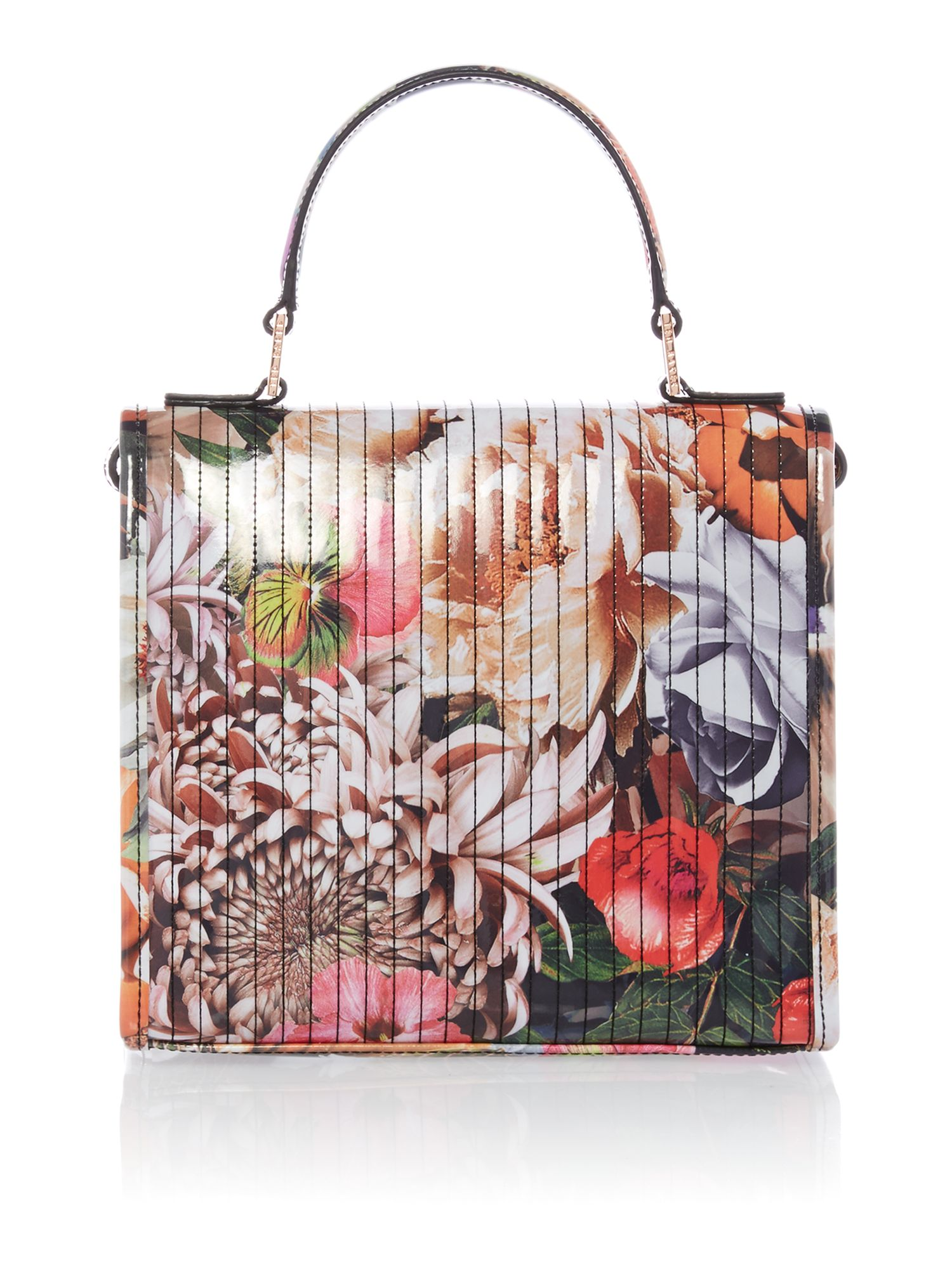 Large floral print canvas tote bag