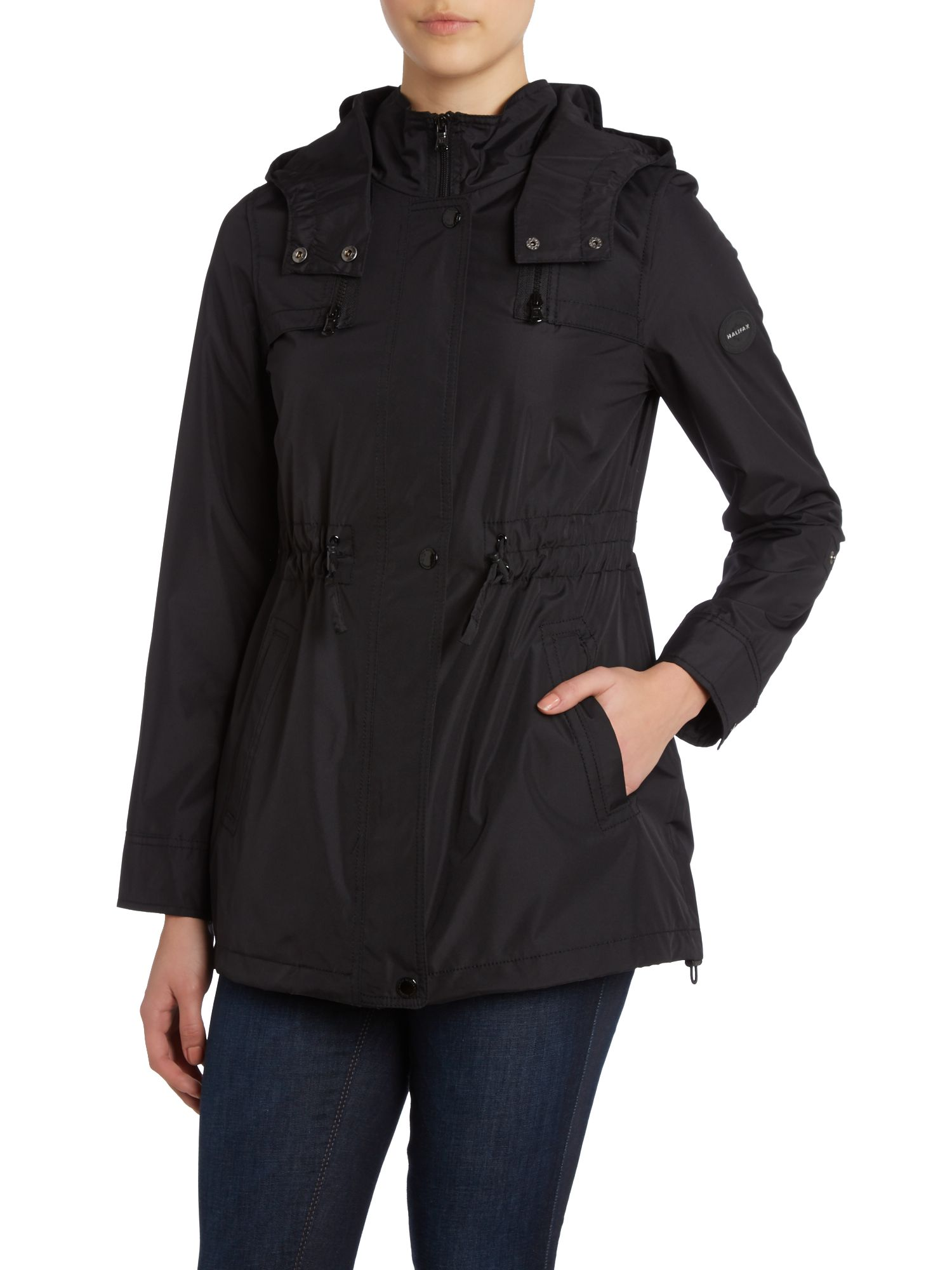 Zip Up Hooded Pleather Coat