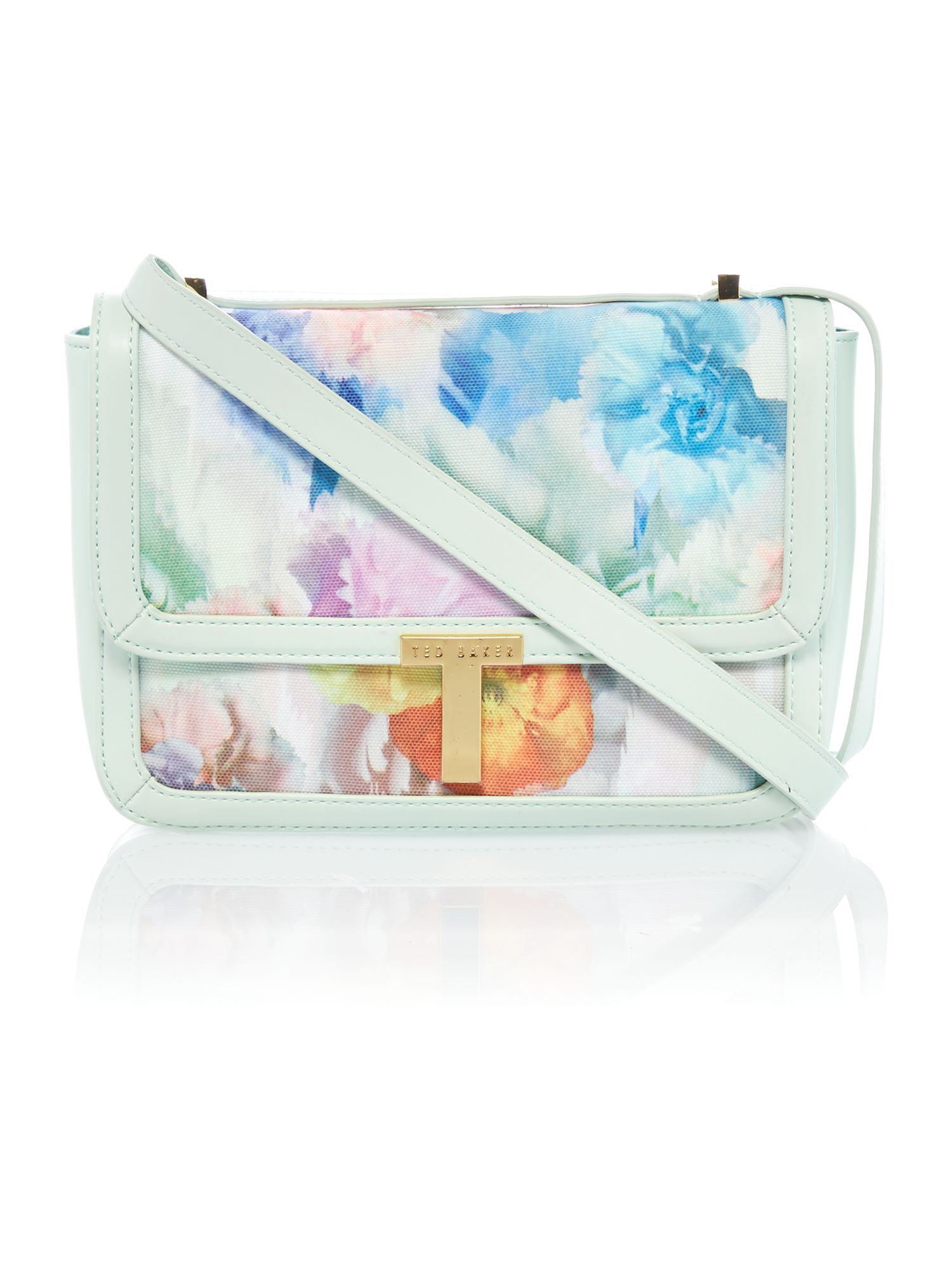 Large floral print canvas cross body bag