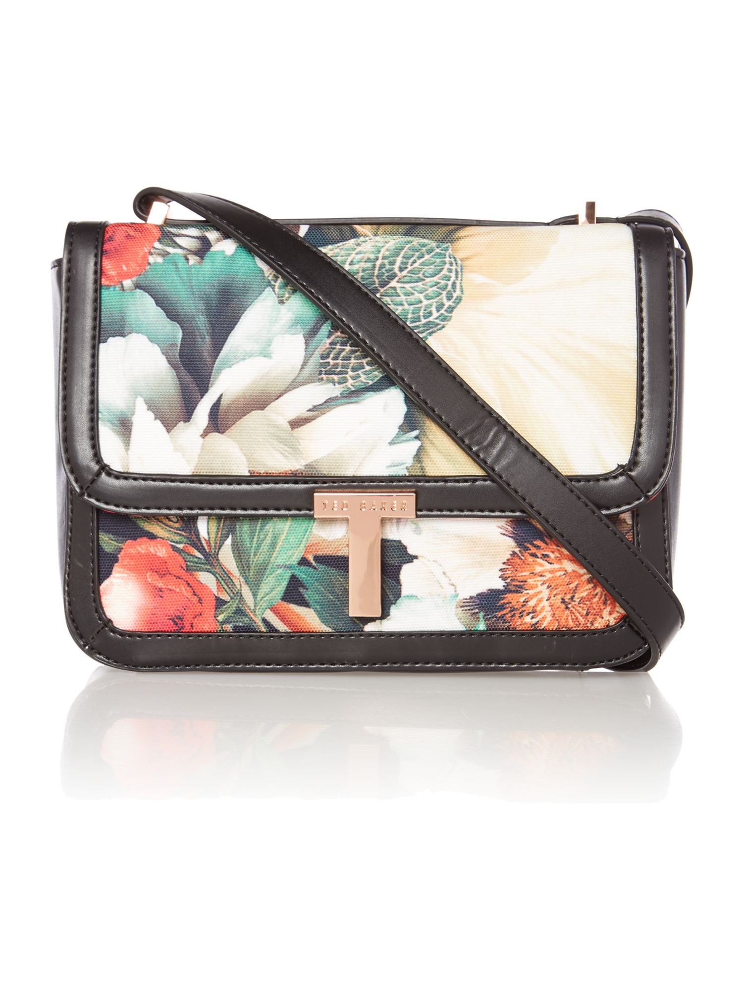 Small floral print canvas cross body bag