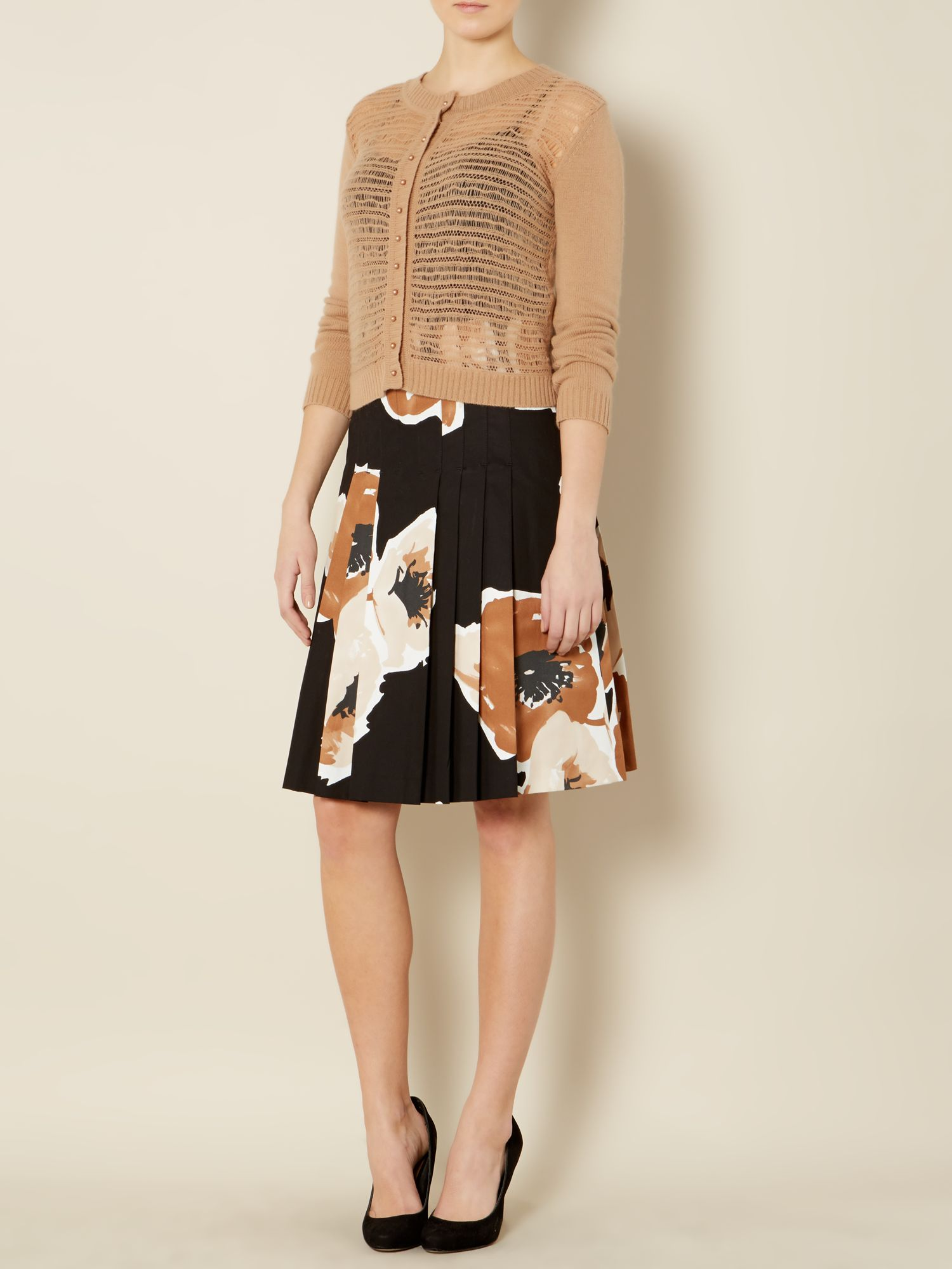 Arizona a line floral print pleated skirt