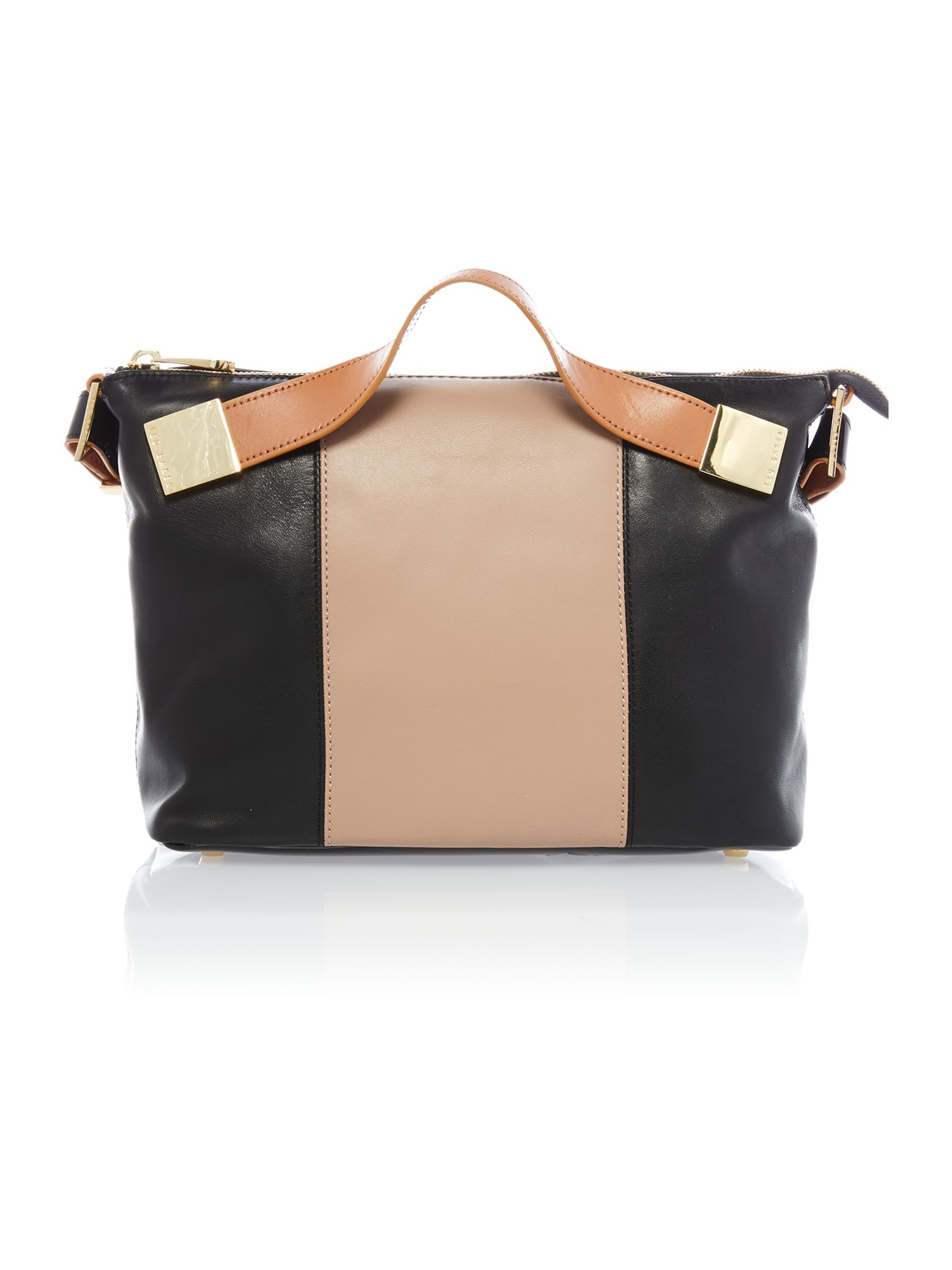 Medium nude and black tote bag