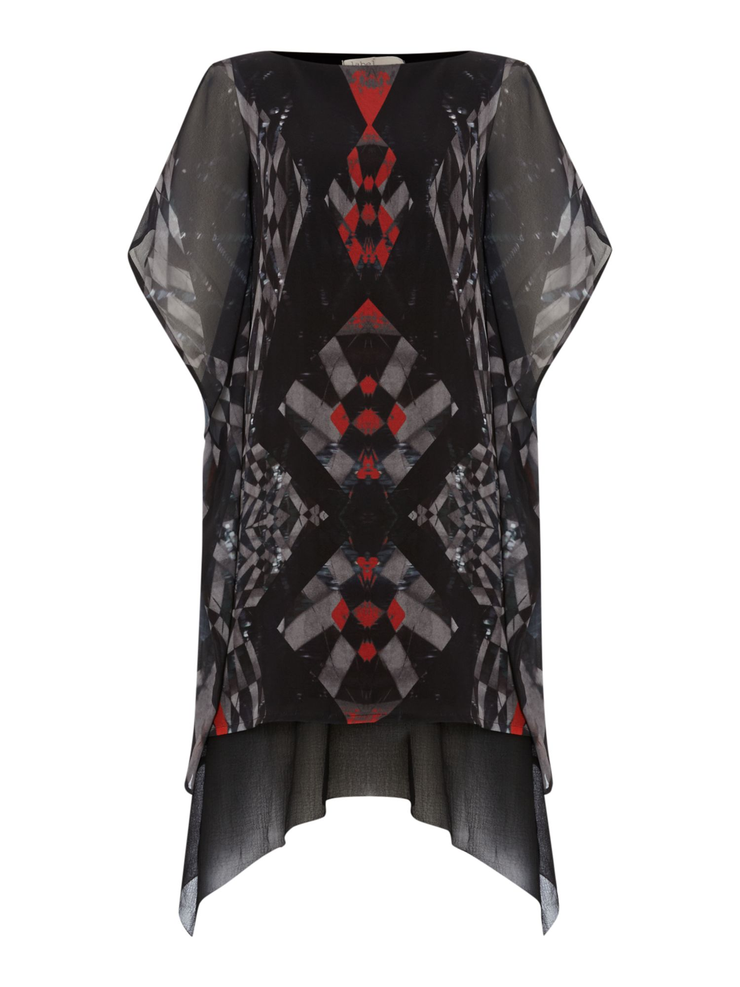 Graphic digi print side frill dress