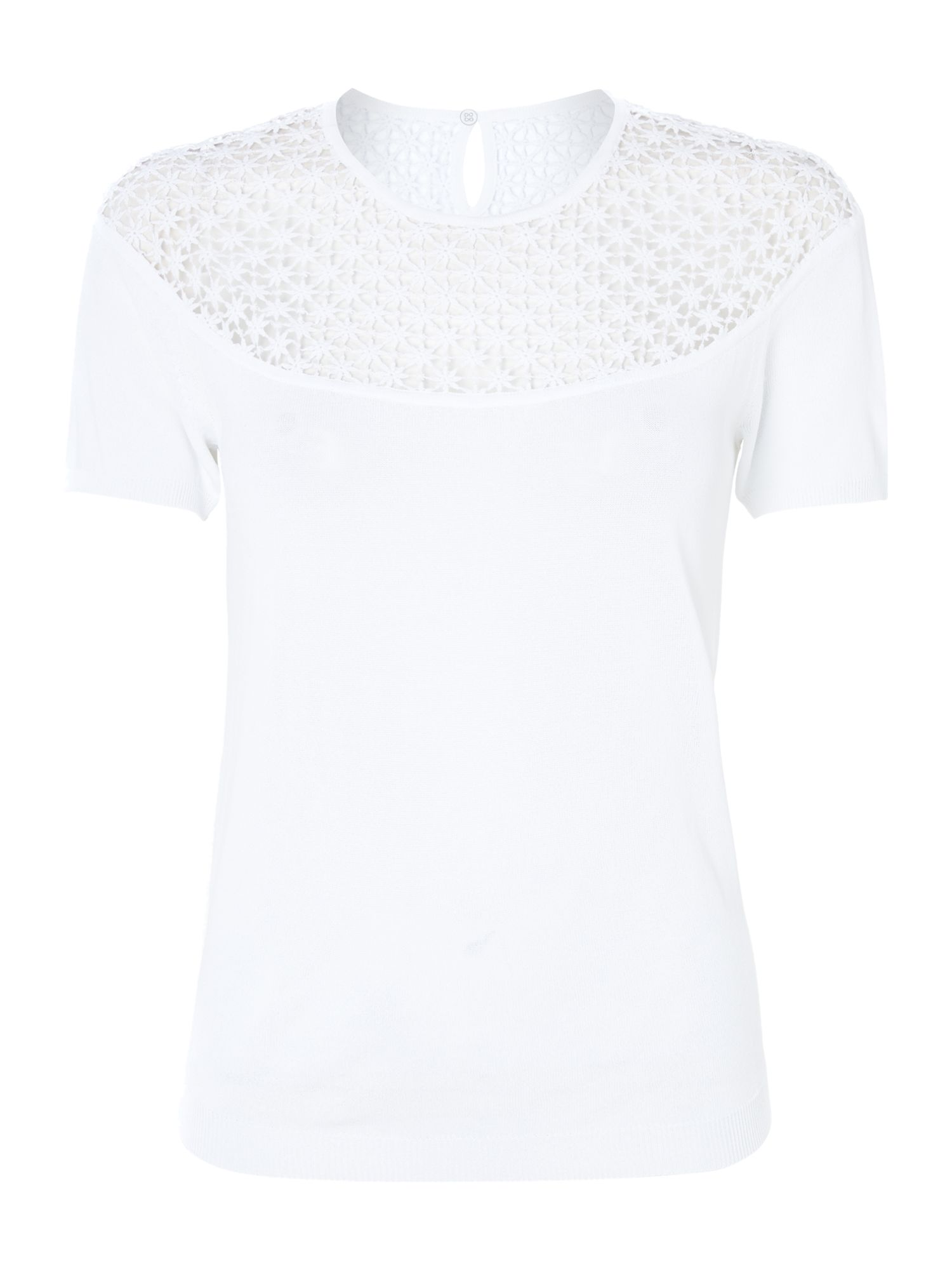 Leslie short sleeved crochet detail top
