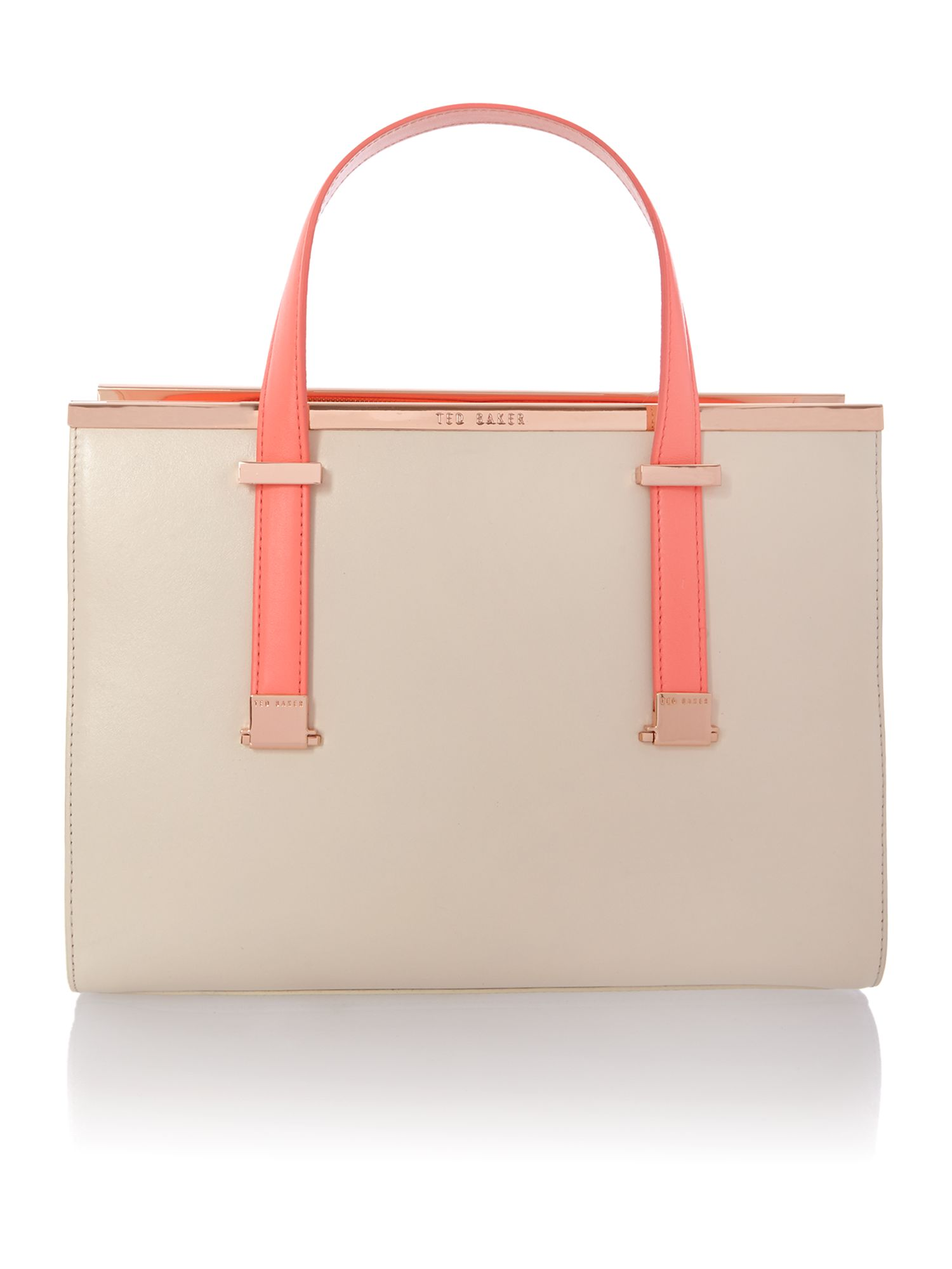 Small nude and pink tote bag