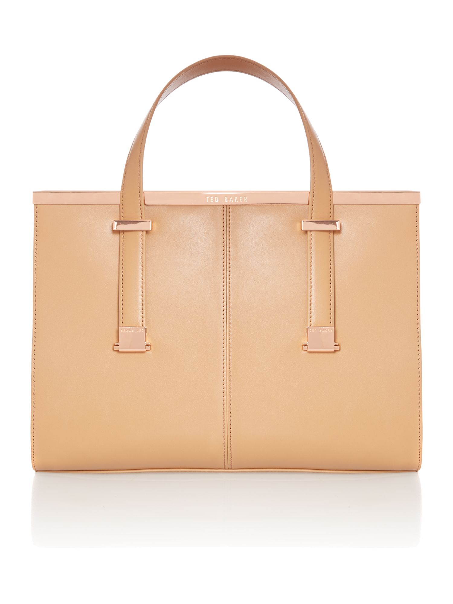 Medium leather tan metal bar tote bag