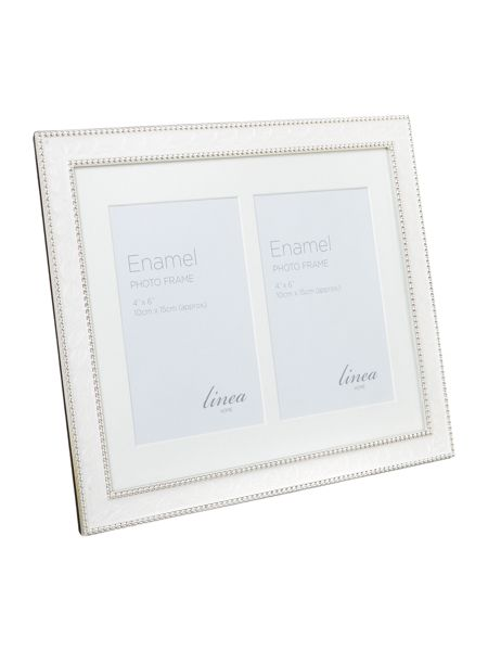 Linea Cream double aperture enamel photo frame
