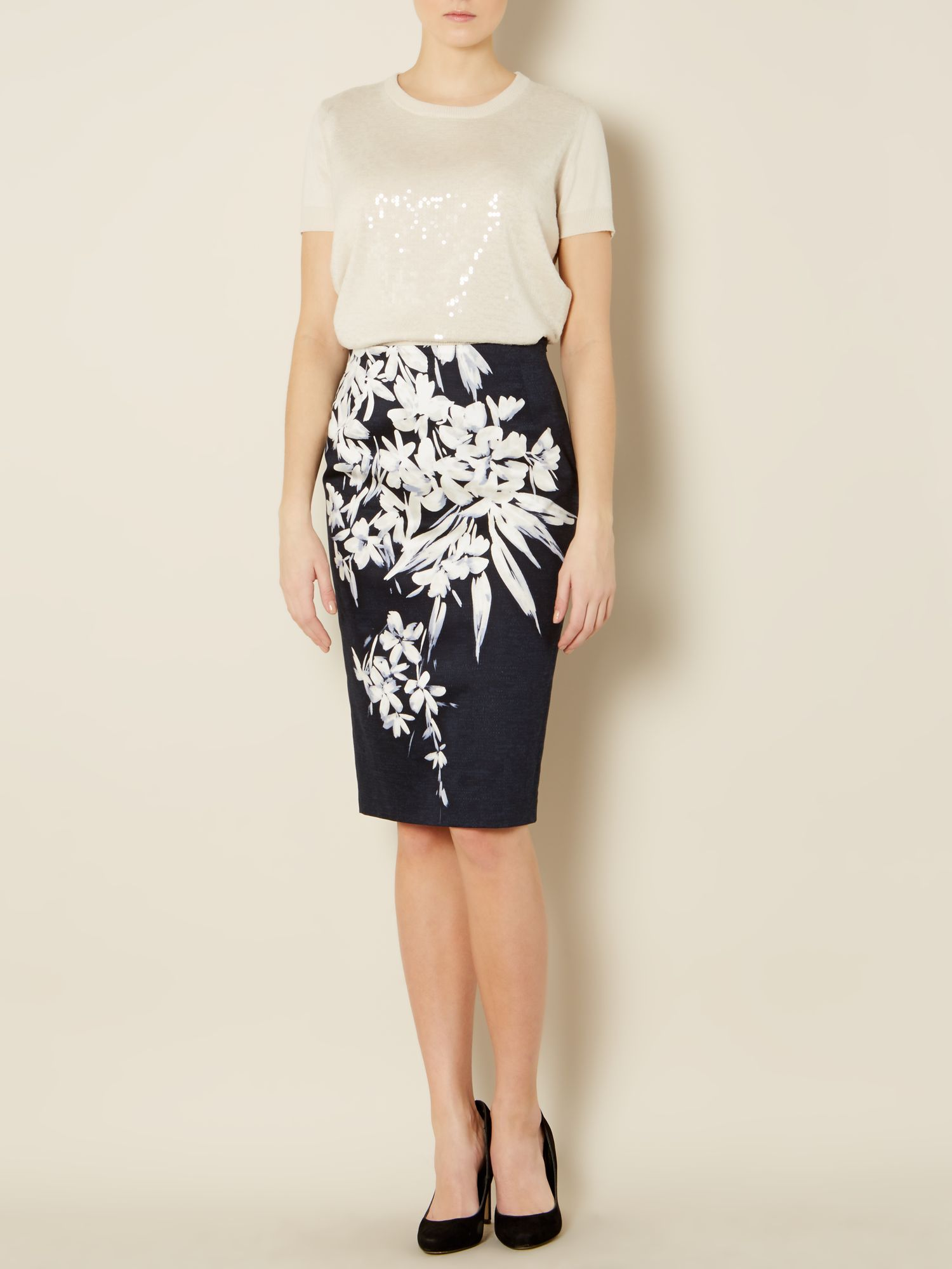 Marisa graphic floral print pencil skirt