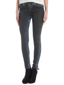 Slim leg faded coated jeans