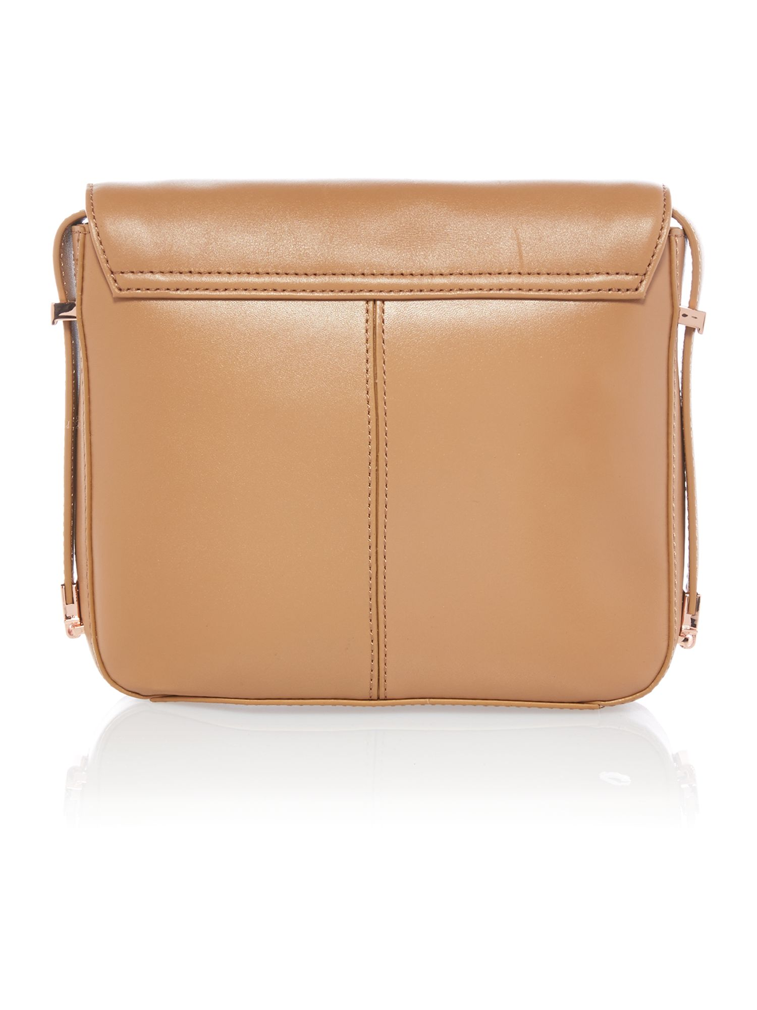 Medium leather tan metal bar cross body bag