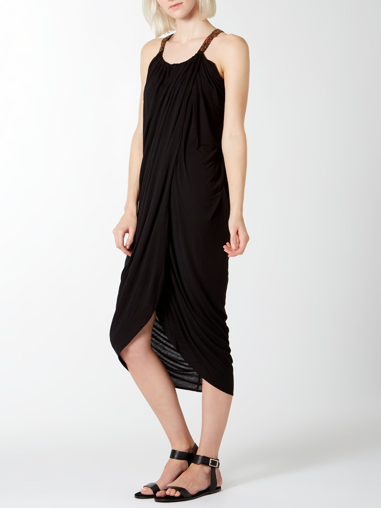 Grecian Bead Strap Jersey Dress
