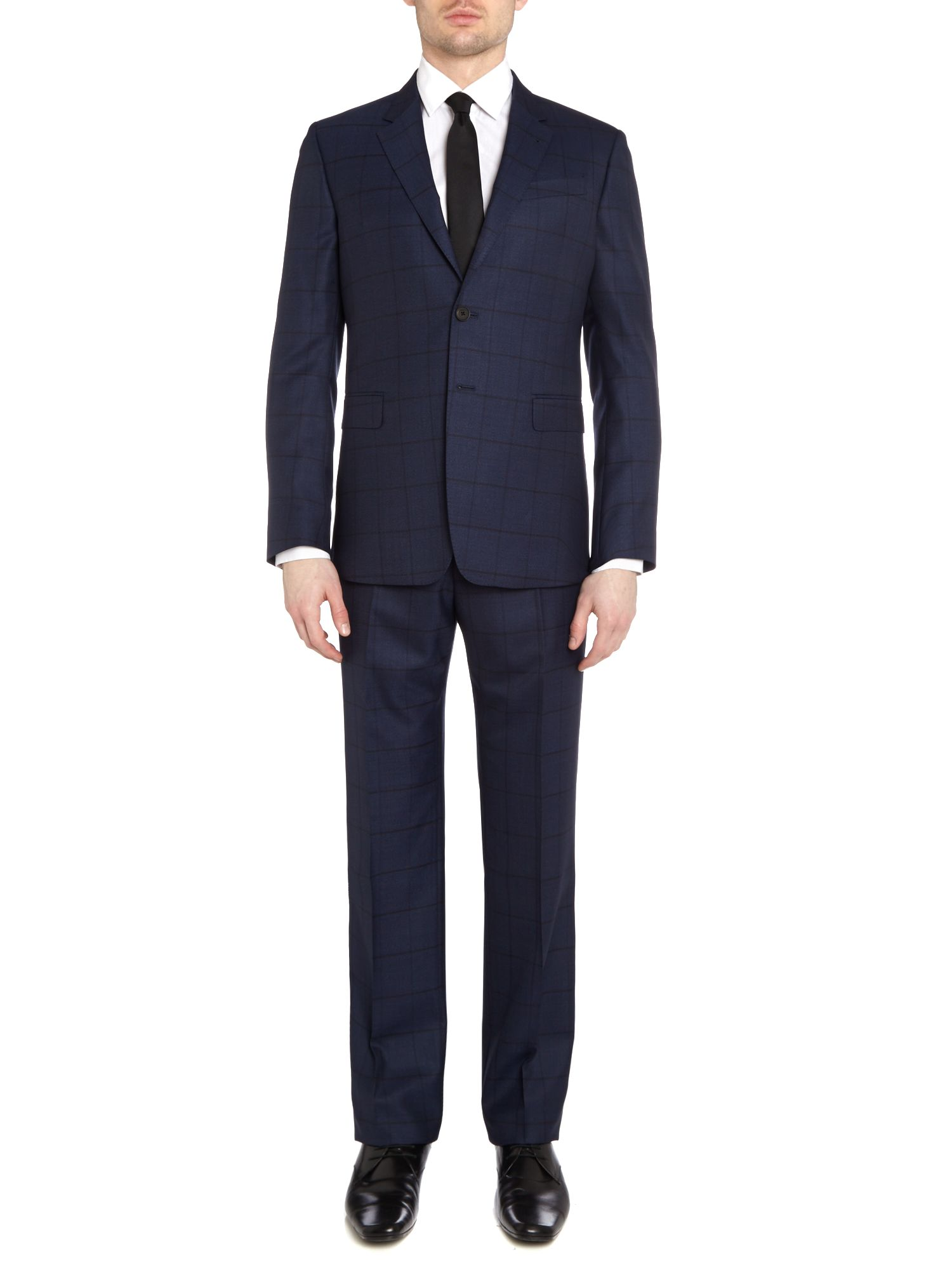 Byard slim fit windowpane check wool suit