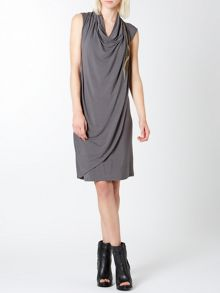 Sequin trim jersey drape dress