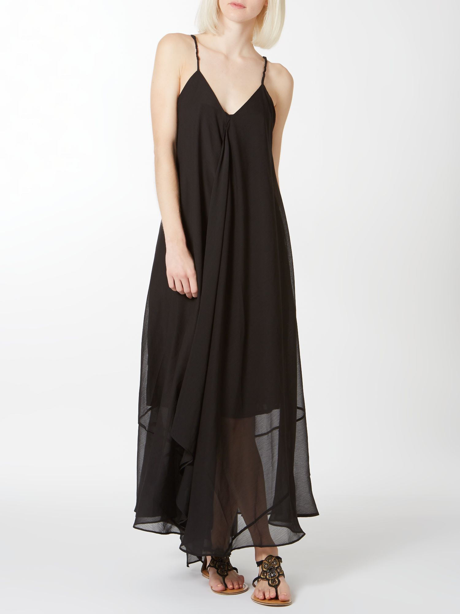 Strappy neckline chiffon maxi dress