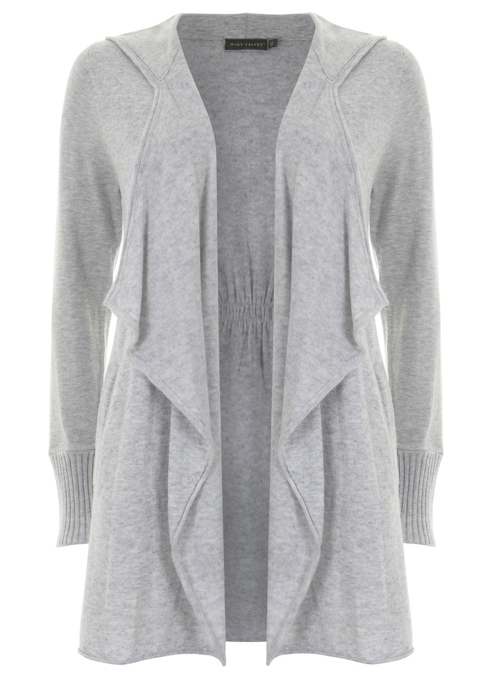 Silver hooded cashmere blend cardigan