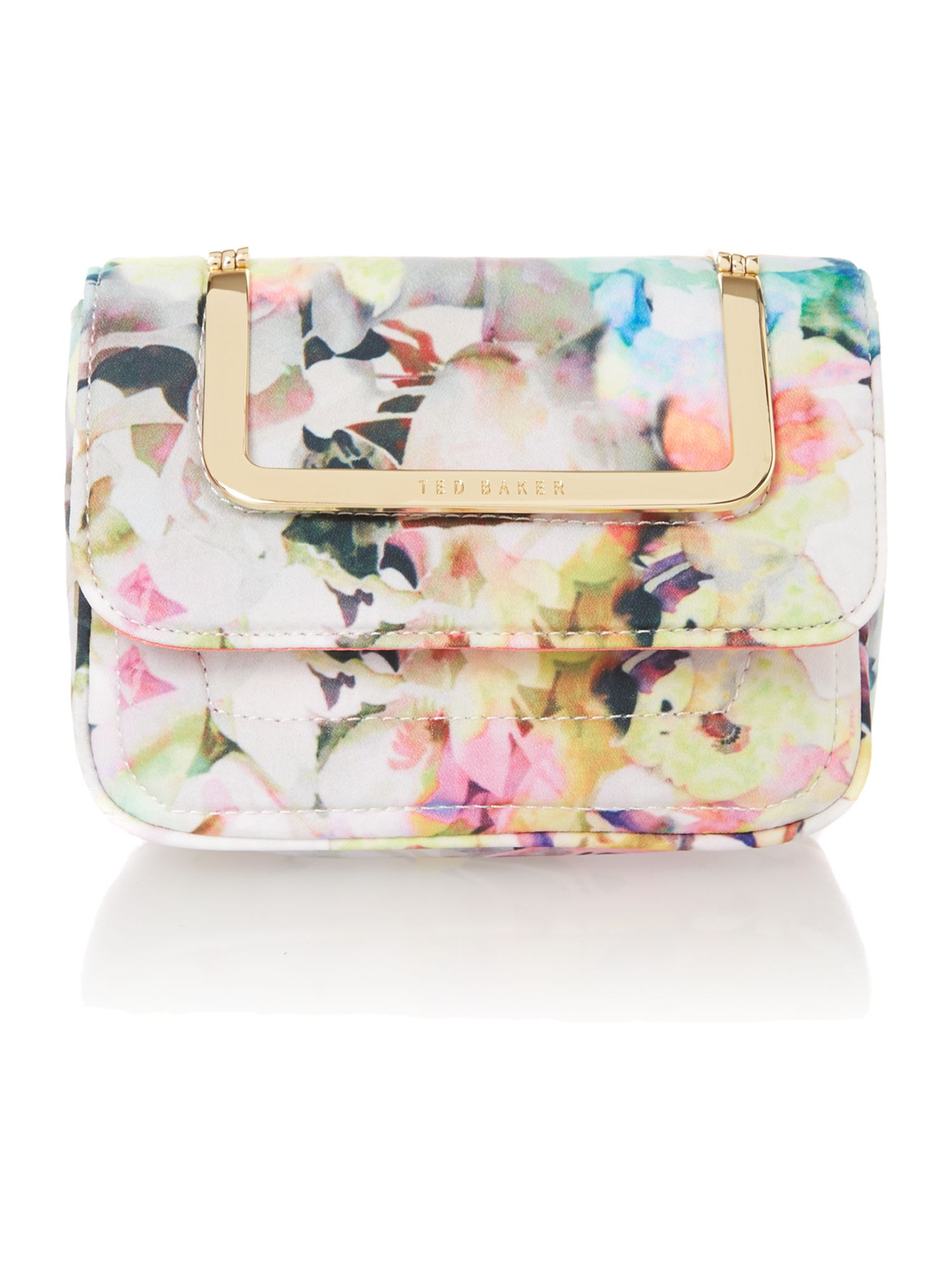 Mini yellow floral chain strap cross body bag