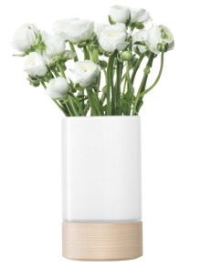 LSA Lotta vase/lantern with ash base H23cm in white
