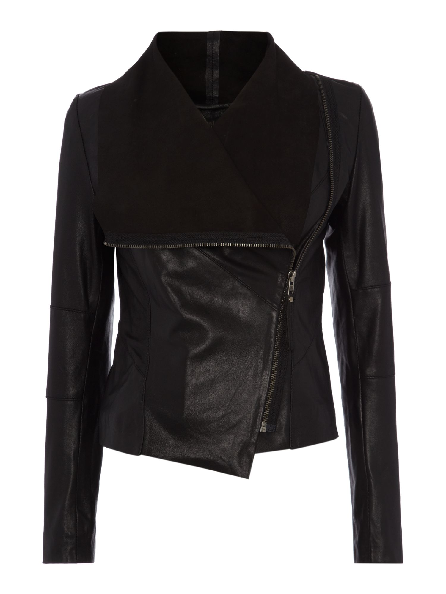 Asymmetric Zip Leather jacket