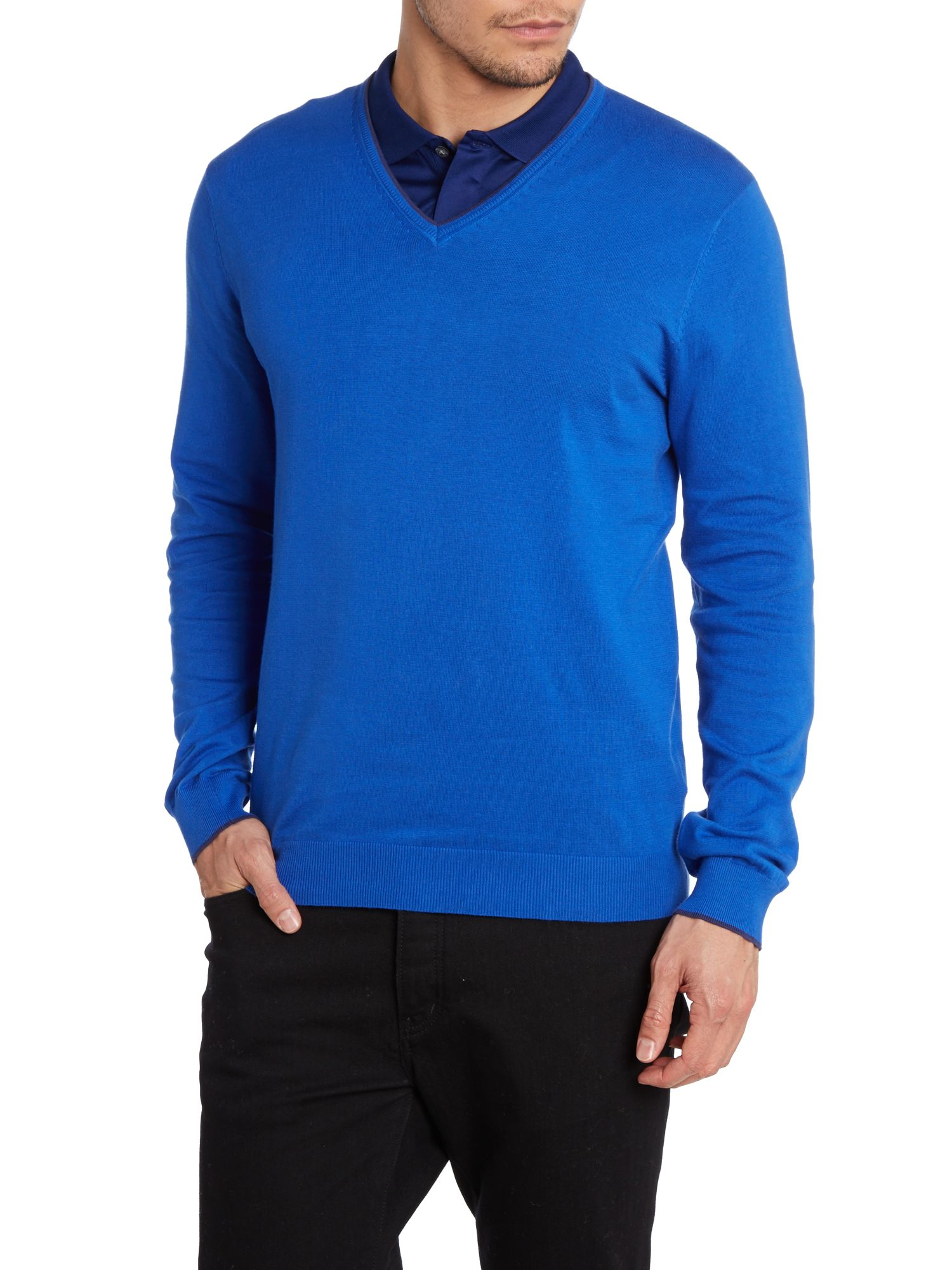 Tipped cotton v neck jumper