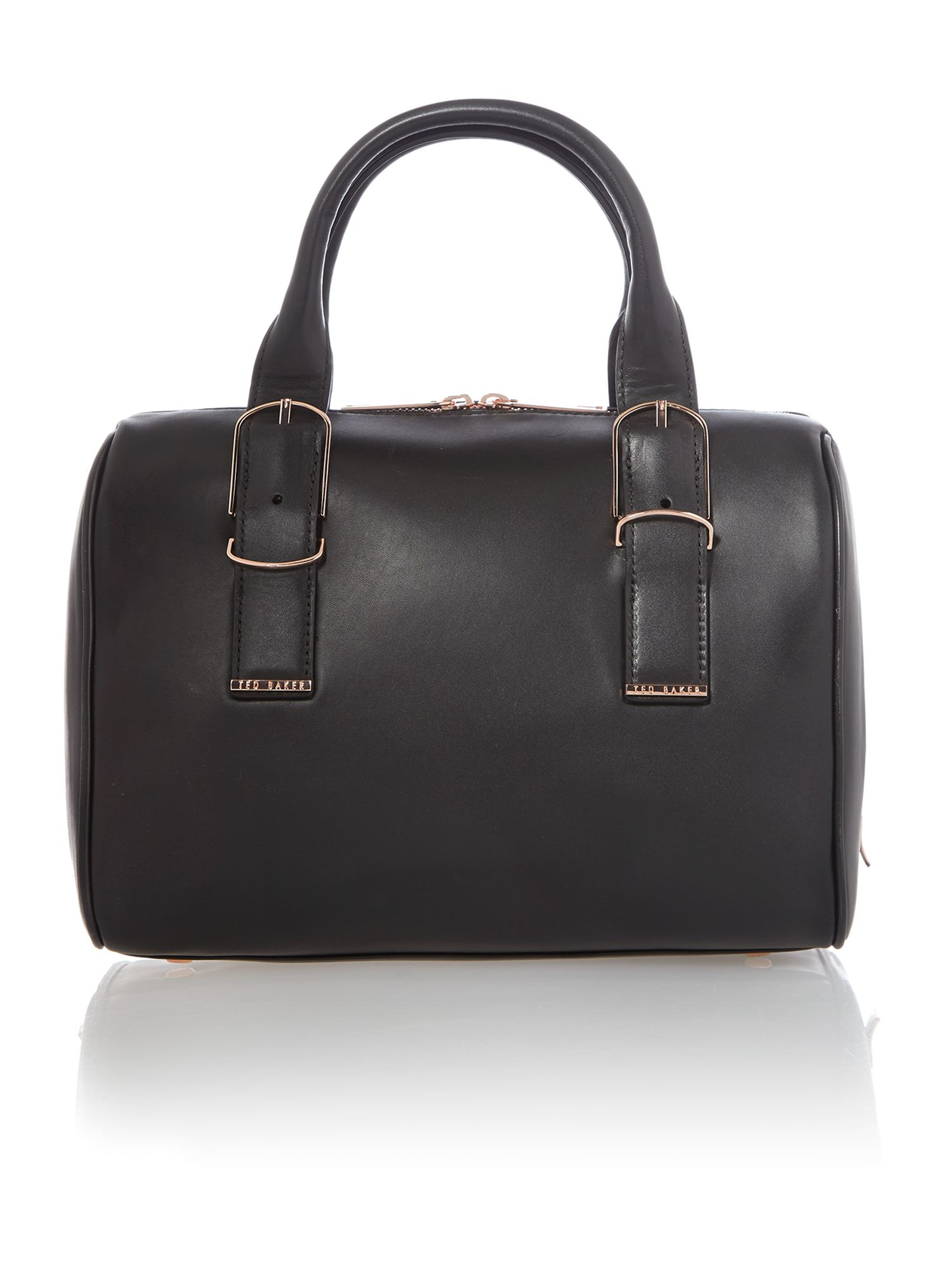 Large black leather bowling bag