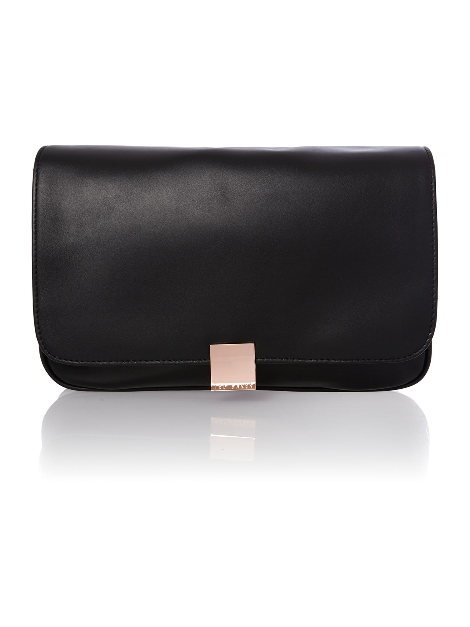 Large black leather cross body bag