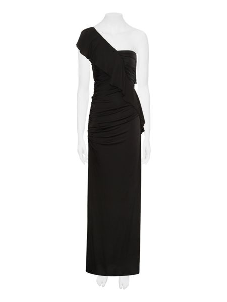 Jane Norman One shoulder ruffle maxi dress