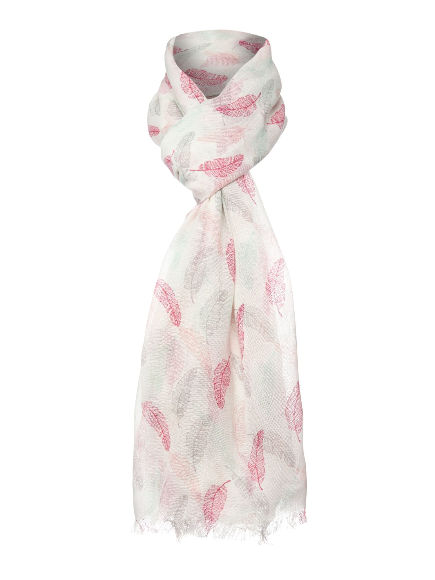 Feather print conversational scarf