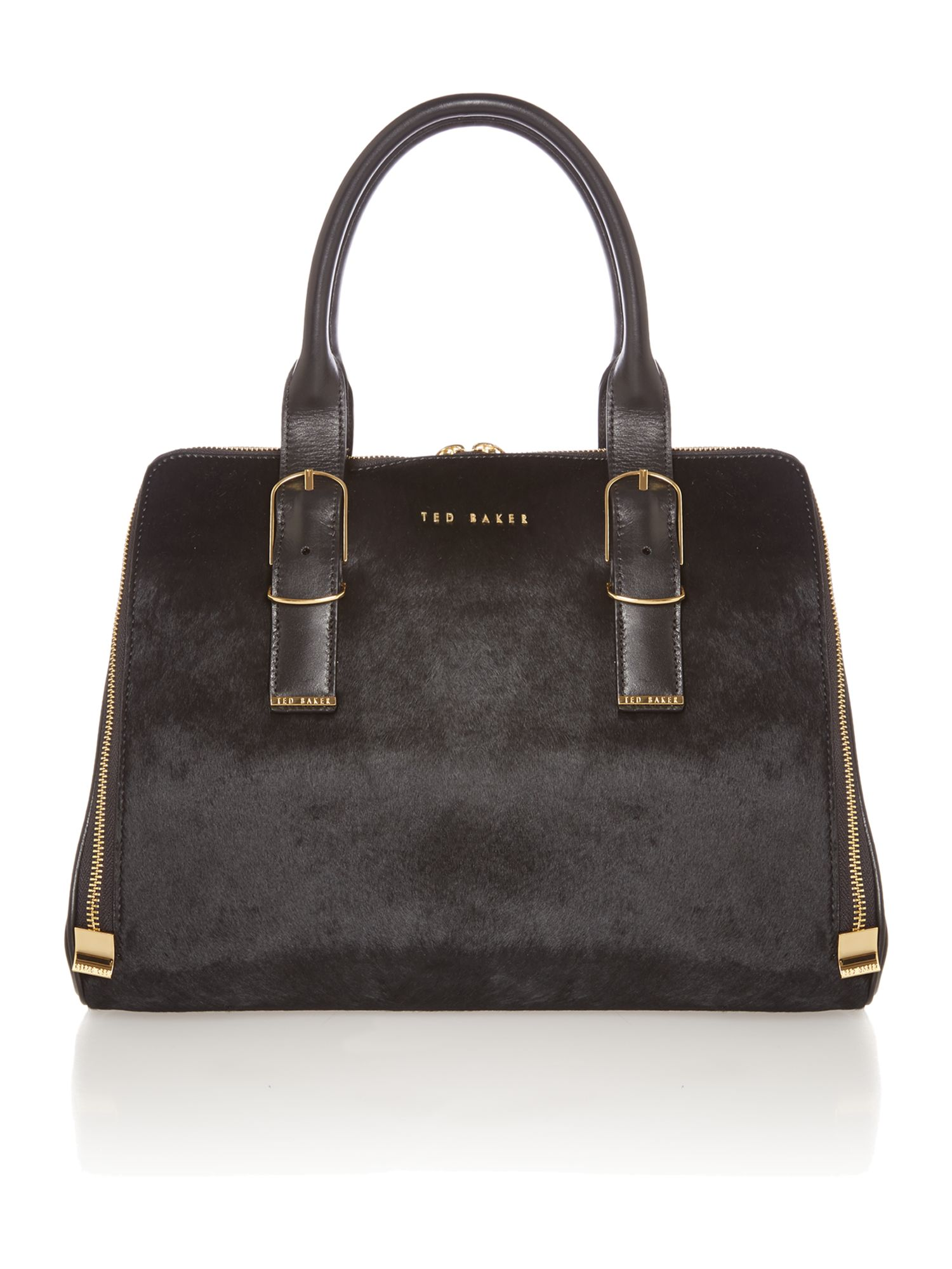 Large black pony skin tote bag