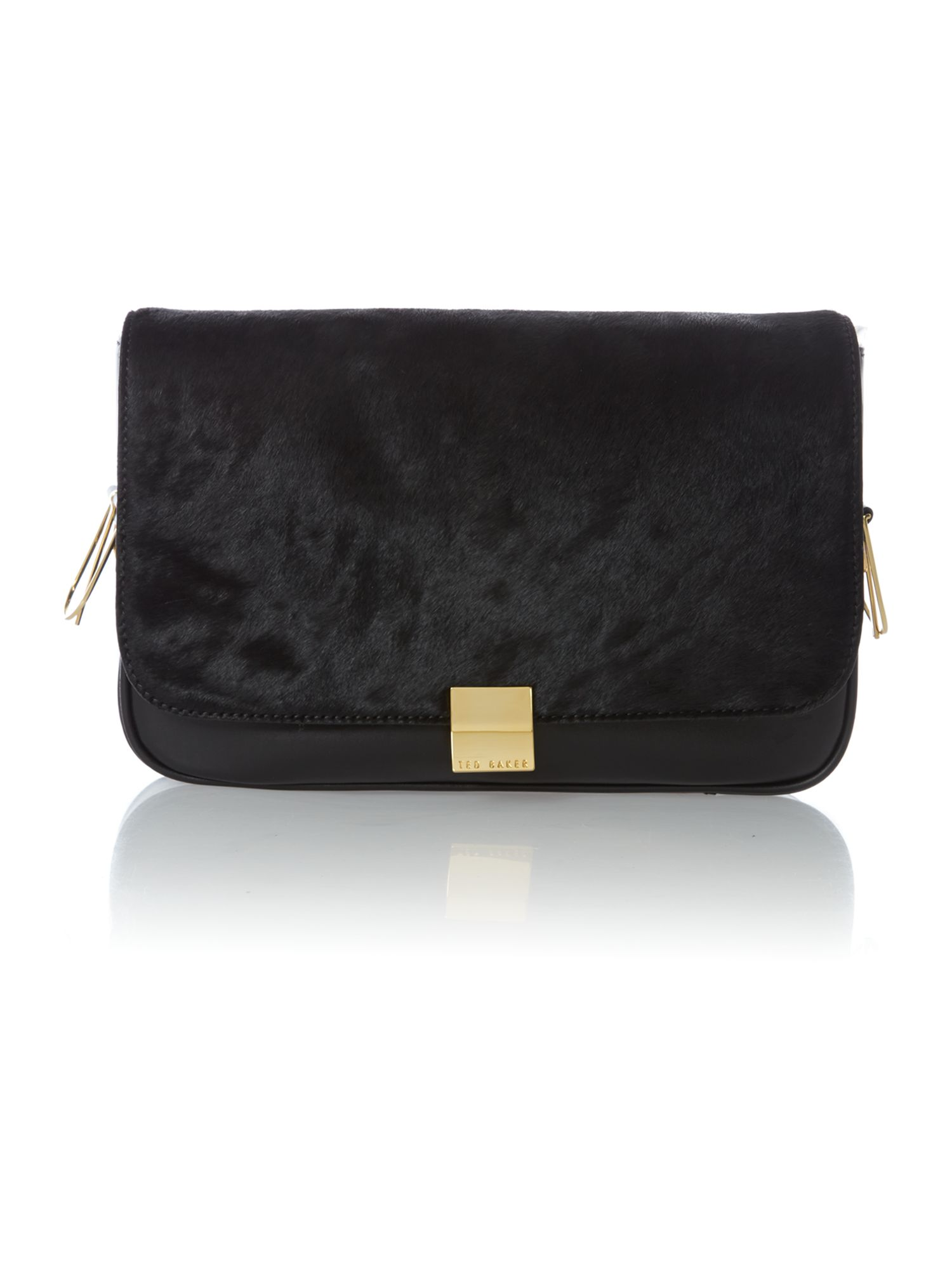 Black small pony skin cross body bag