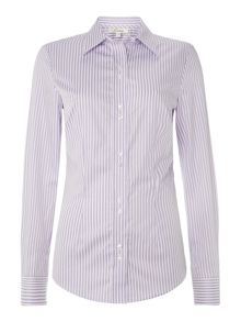 Slim fit stripe non stretch workshirt