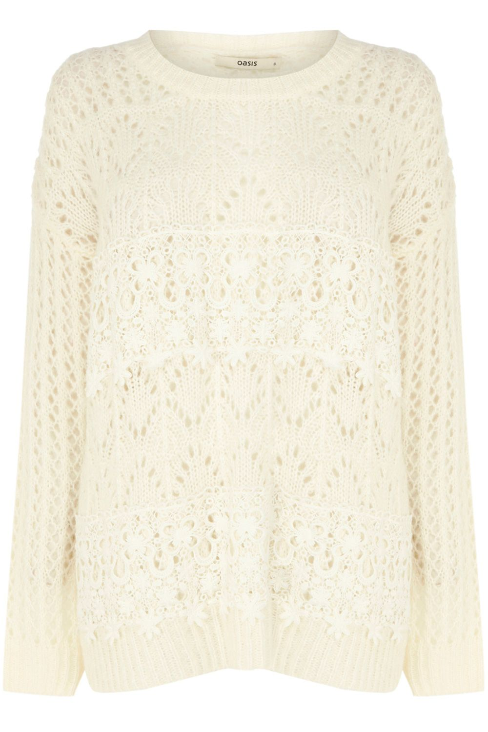 Pointelle lace stripe jumper