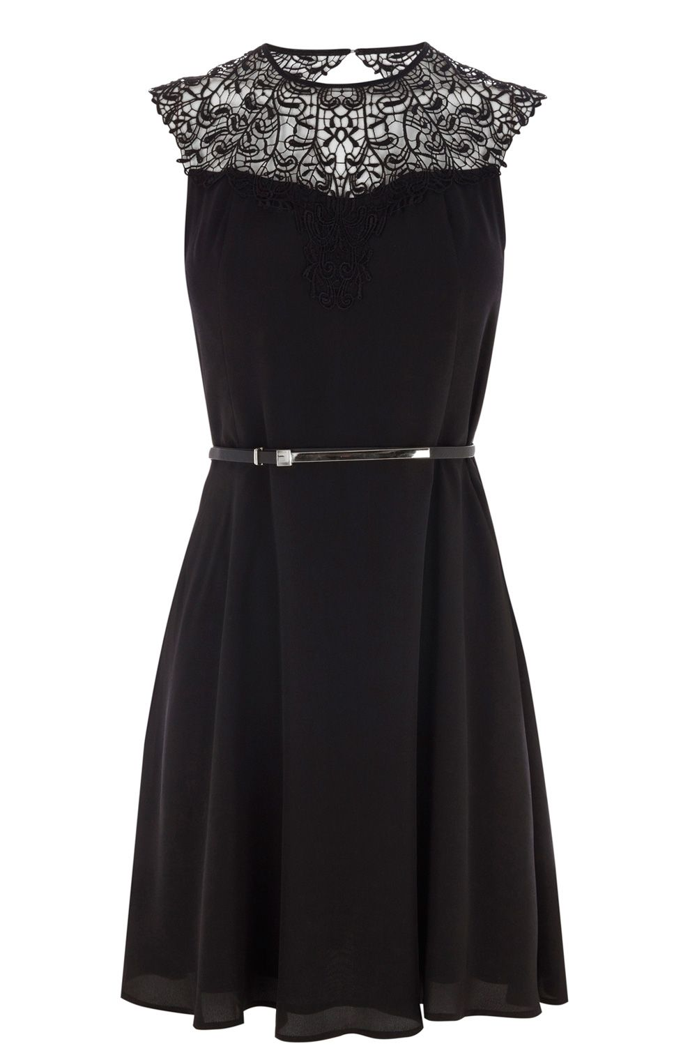 Lace neck skater dress