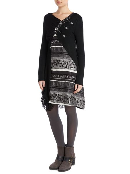 Izabel London Asymmetric embroidered dress