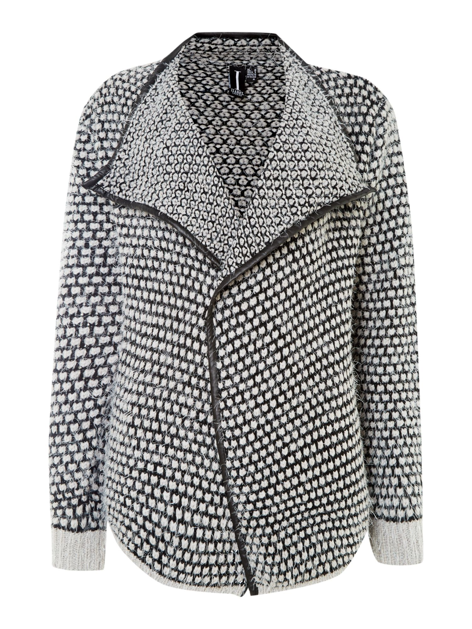 Dotted knit cardigan with PU trim