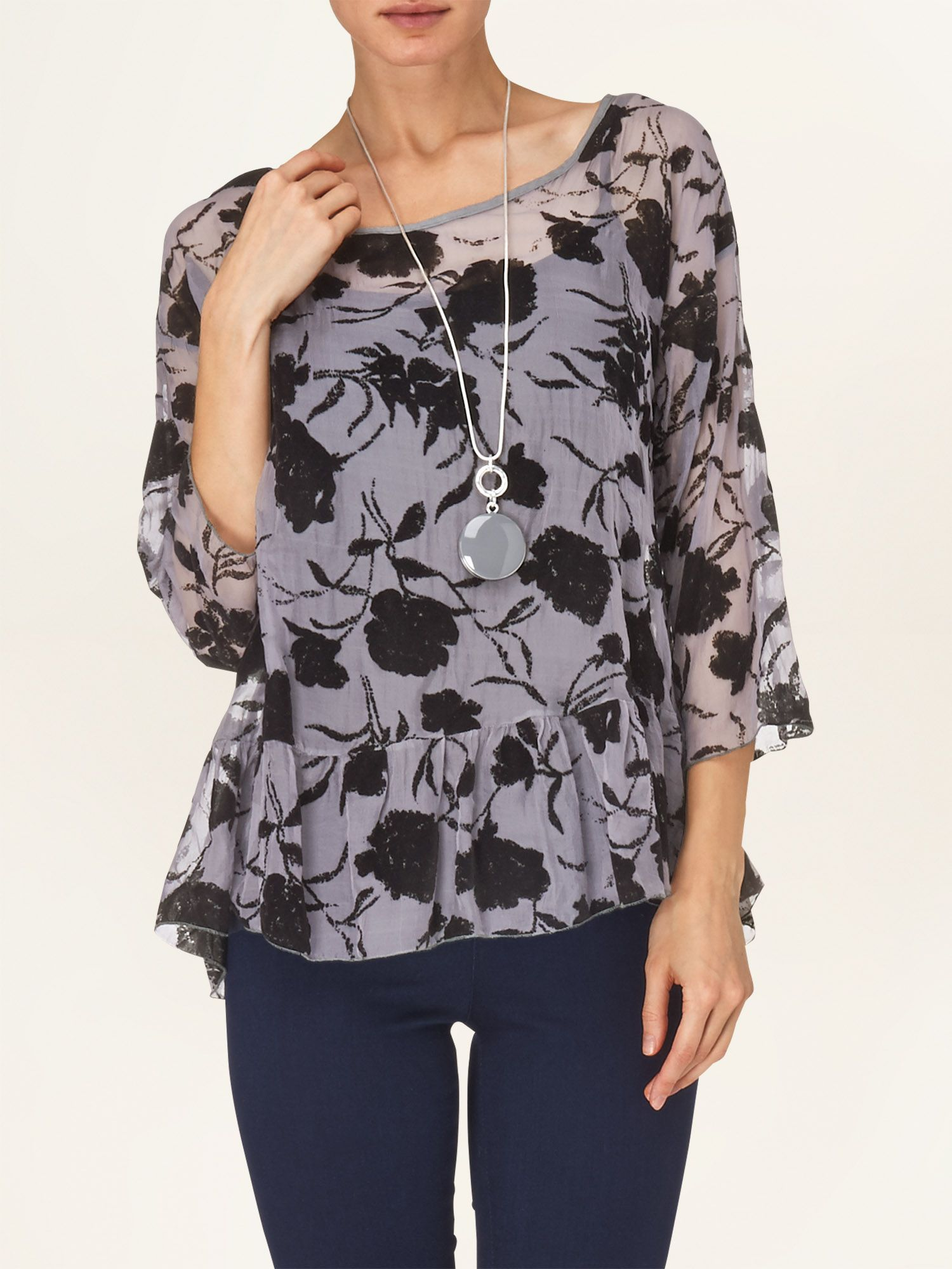 Moira flocked floral silk blouse